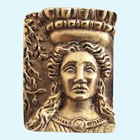 Vintage MST Museum Replica Pin of Greek Woman and Column Brooch
