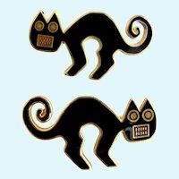 Vintage Metropolitan  Museum of Art (MMA) Two Black Enamel Cat Pins