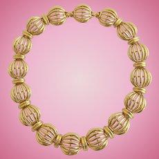 Vintage Classic Monet Gold Tone Choker Necklace