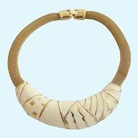 Vintage Monet Cream Enamel Gold Tone Choker Necklace
