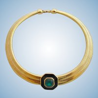 Vintage Monet Green Rhinestone Snake Chain Choker Necklace