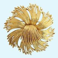 Vintage Monet Large Gold Plated Flower Brooch