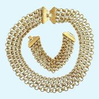 Vintage Monet Heavy Gold Plated Interlocking Chain Necklace and Bracelet Set - Advertisement Piece