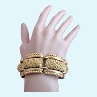 Vintage Monet Chunky Gold Tone Nugget Link Bracelet