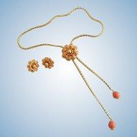 Vintage Elizabeth Morrey Lariat Necklace and Clip Earring Set