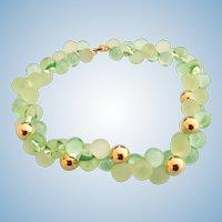 Vintage Napier Lime Green Lucite Bubble Choker Necklace