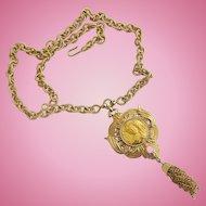 Vintage Nettie Rosenstein Coin Gold Tone Pendant