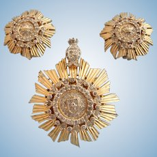 Vintage Nettie Rosenstein Gold Tone Royal Crest Brooch and Clip Earring Set