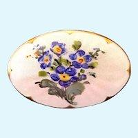 Vintage Ivar Holt (Holth) Norway Enamel Guilloche Flower Sterling Silver Oval Pin / Brooch