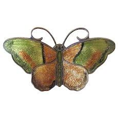 Vintage Sterling Silver Hroar Prydz Norway Green Butterfly Pin Brooch