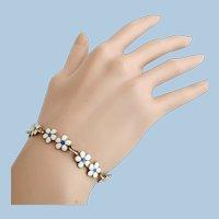 Vintage OPRO Norway Sterling Silver Guilloche Enamel Flower Bracelet