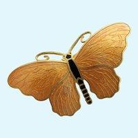 Vintage Sporrong Swedish Larger Orange Enamel Butterfly Pin