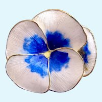 Vintage Norway Sterling Guillouche Enamel White and Blue Pansy Flower by Finn Jensen