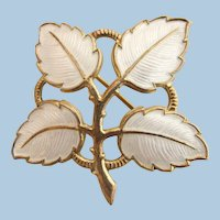 Vintage Sterling Silver White Guilloche Leaf Pin by Aksel Holmsen