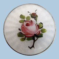 Vintage Sterling Norway Finn Jensen Rose Gillouche Pin