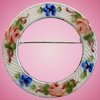 Vintage Lamode Sterling Flower Circle Pin