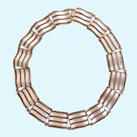 Vintage Holt (aka Holth) of Norway Sterling White Guilloche Rare Wave Necklace