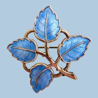Vintage Norway Askel Holmsen Silver Guilloche Blue Leaf Pin