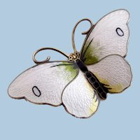 Vintage Norway Butterfly Silver White Gillouche Brooch by Hroar Prydz