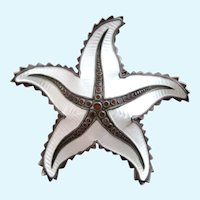 Vintage Ivar Holth Norway Sterling Silver Guilloche Starfish Pin