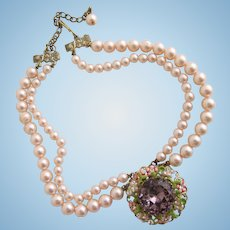 Vintage Faux Pink Pearl Choker Necklace was Glass Amethyst Center