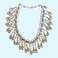 Vintage Faux Pearl and Crystal Dangle Necklace