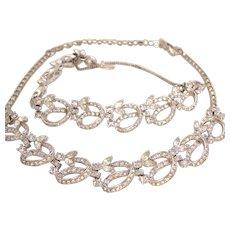 Vintage Pennino Clear Rhinestone Necklace and Bracelet Set