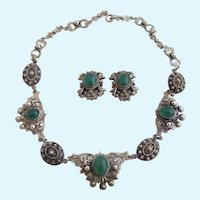 Vintage Peruzzi Ornate 800 Silver and Green Chrysoprase Cabochon Necklace and Earring Set