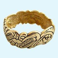 Vintage Lucien Piccard Rare Gold Plated, Hinged Clamper Bracelet