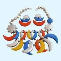 Vintage Plastic Lucite Multi Color Novelty Moon Charm Necklace and Earring Set