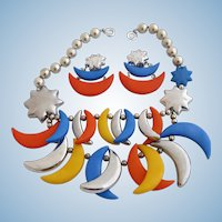 Vintage Plastic Lucite Multi Color Crescent Moon Charm Necklace and Earring Set