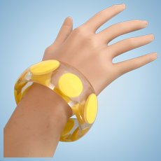 Vintage Clear Lucite Yellow Dot Bangle Bracelet