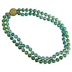 Vintage Transparent Blue Green Lucite Bead Necklace