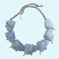 Vintage Light Blue Double Lucite Hearts Necklace