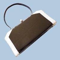 Vintage Black Faux Patent Leather and Cream Handbag