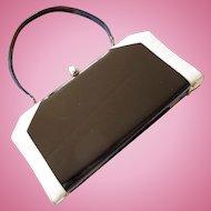 Black Faux Patent Leather and Cream Handbag