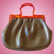 Vintage Garay Lucite Handle Brown Purse