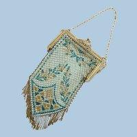 Vintage Mandalian Aqua Blue Metal Mesh Purse - 1920's era