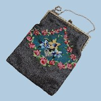Vintage Shimmering Gray Micro Beaded Flower Purse