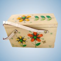 "Vintage Enid Collins 'Les Fleurs"" Wood Box Bag Purse"