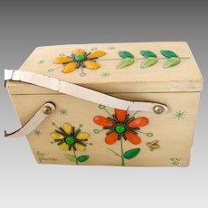 """Vintage Enid Collins 'Les Fleurs"""" Wood Box Bag Purse"""