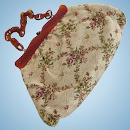 Vintage Tapestry Purse with Lucite Frame and Handle