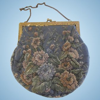 Vintage Petit Point Purse in Pink & Grey Flowers from France