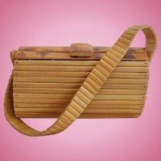 Vintage Rare Bamboo Slat Made in Japan Purse