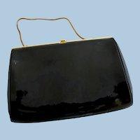 Vintage Etra Faux Black Patent Leather Clutch Purse