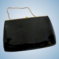 Vintage Etra Faux Black Patent Leather Clutch Purse