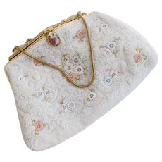 Vintage Floral Micro Seed Bead White Purse with Ornate Clasp