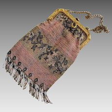 Vintage Micro Steel Beaded Purse - Made in France