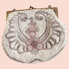 Vintage Hand Beaded White Micro Bead Purse