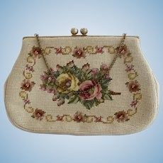 Vintage Christine Floral Needlepoint Purse